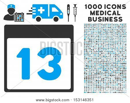 Blue And Gray Thirteenth Calendar Page glyph icon with 1000 medical business pictograms. Set style is flat bicolor symbols, blue and gray colors, white background.