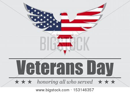 Eagle with USA flag inside for Veterans Day. Vector illustration