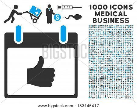 Blue And Gray Thumb Up Calendar Day glyph icon with 1000 medical business pictograms. Set style is flat bicolor symbols, blue and gray colors, white background.