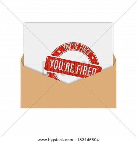 Realistic envelope of yellow paper with a letter notice you are fired flat icon vector illustration.