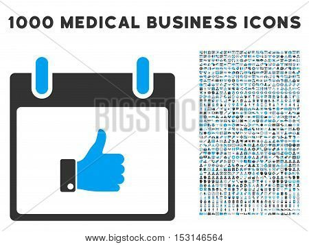 Blue And Gray Thumb Up Hand Calendar Day glyph icon with 1000 medical business pictograms. Set style is flat bicolor symbols, blue and gray colors, white background.