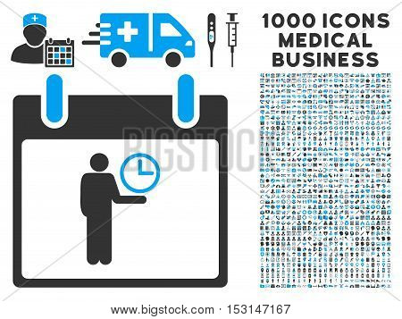 Blue And Gray Time Manager Calendar Day glyph icon with 1000 medical business pictograms. Set style is flat bicolor symbols, blue and gray colors, white background.