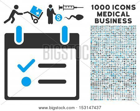 Blue And Gray Todo List Calendar Day glyph icon with 1000 medical business pictograms. Set style is flat bicolor symbols, blue and gray colors, white background.