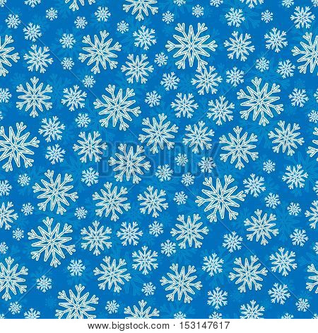 Christmas seamless pattern with white blue snowflakes and layer substrate over blue