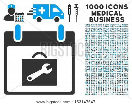 Blue And Gray Toolbox Calendar Day glyph icon with 1000 medical business pictograms. Set style is flat bicolor symbols, blue and gray colors, white background.