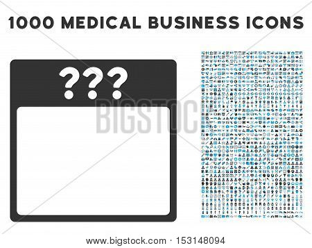 Blue And Gray Unknown Calendar Page glyph icon with 1000 medical business pictograms. Set style is flat bicolor symbols, blue and gray colors, white background.