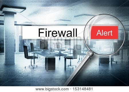 searching firewall browser search security alert 3D Illustration poster