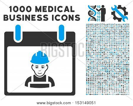 Blue And Gray Worker Calendar Day glyph icon with 1000 medical business pictograms. Set style is flat bicolor symbols, blue and gray colors, white background.