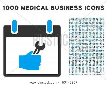 Blue And Gray Wrench Service Hand Calendar Day glyph icon with 1000 medical business pictograms. Set style is flat bicolor symbols, blue and gray colors, white background.