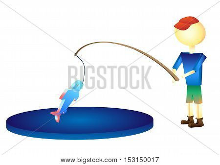 the fisherman caught a fish illustration a