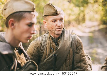 Teryuha, Belarus - October 3, 2015: Portrait of unidentified re-enactor dressed as World War II Soviet russian soldier in forest