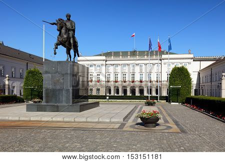 Warsaw Poland - August 26 2016: View of the facade of the Presidential Palace in Warsaw.