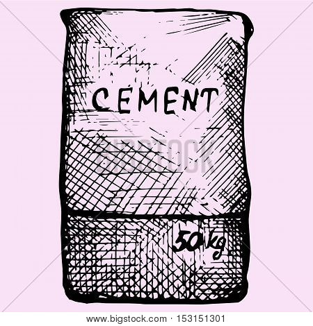 Cement bag, paper sacks doodle style sketch illustration hand drawn vector