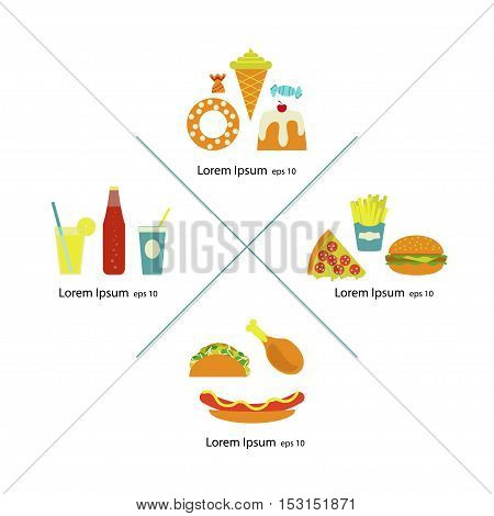 Flat fast food menu icons pizza french fries hamburger hot dog fried chicken ice cream cone desserts soda cake tacos cocktail candy. Junk food illustration Isolated in white background. Vector eps10