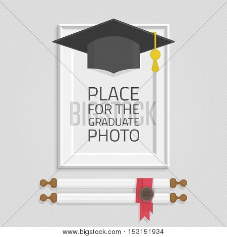 Vector photo frame template with Graduation cap and diploma rolled scroll. Frame to win the students. Graduation, education concept.