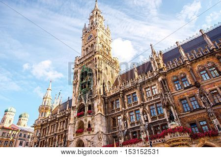 View on the main town hall with clock tower on Mary's square in Munich, Germany