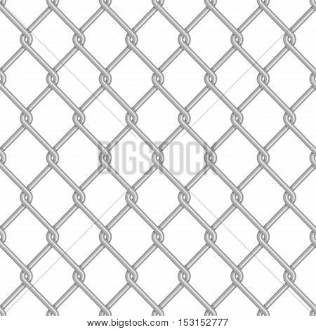 Chainlink fence pattern. Vector seamless background. Chain link fence structure texture wallpaper.