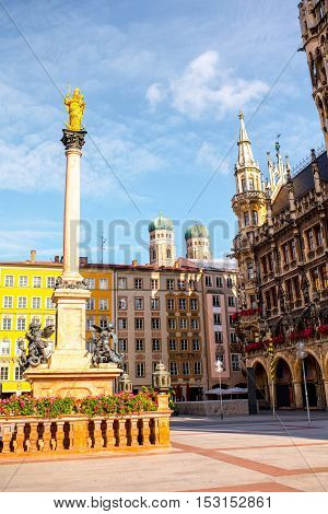 View on the main town hall with Marian column on Mary's square in Munich, Germany