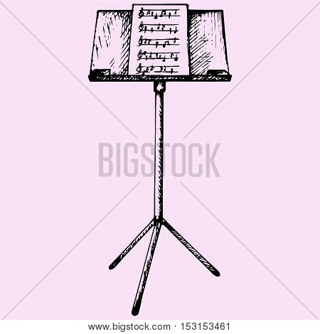 Music sheets on stand doodle style sketch illustration hand drawn vector