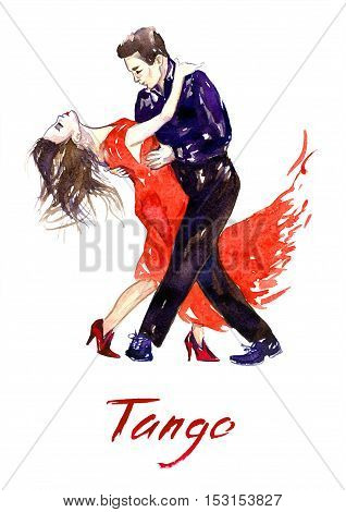 Passionate couple dancing tango, hand painted watercolor illustration