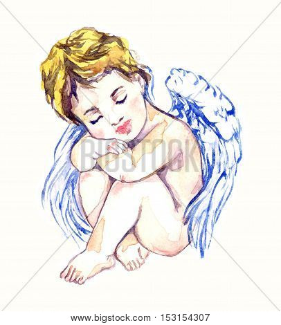 Innocent angel dreaming, hand painted watercolor illustration