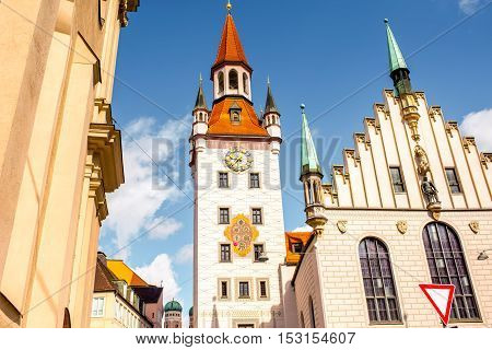 View on the clock tower of the old town hall on Mary's square in Munich