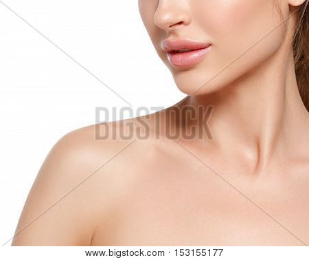 Beauty Woman Lips, Nose, Shoulders Portrait. Beautiful Model Girl With Perfect Fresh Clean Skin