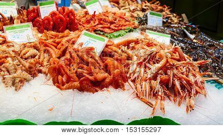 tasty shrimps in the market of la boqueria