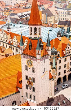 Top view on the old town hall's tower in Munich, Germany