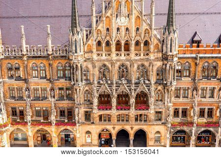 Top view on the town hall's facade on Mary's square in Munich, Germany