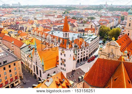 Aerial cityscape view with old town hall in Munich, Germany