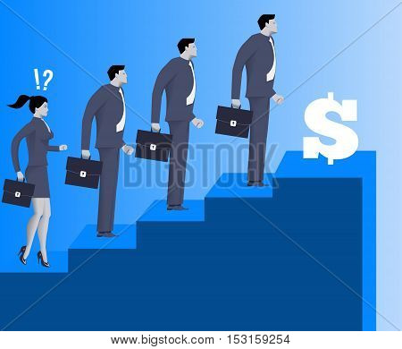 Gender inequality on career ladder business concept Astonished business lady looks on steps of career ladder occupied by men. Concept of career inequality disparity gender differences. Vector.