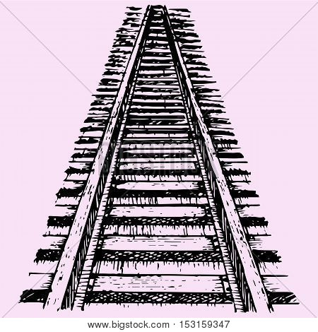 perspective of railroad, doodle style sketch illustration hand drawn vector