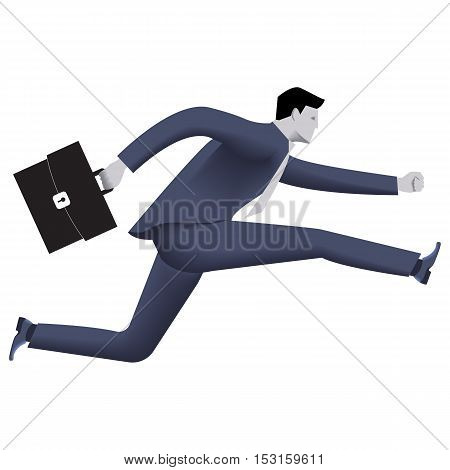 Running businessman business template. Confident businessman in business suit with case running isolated on white background. Vector illustration. Background template part of design.