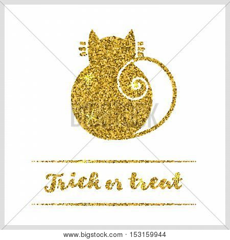 Halloween gold textured cat icon on white background.  Vector illustration.