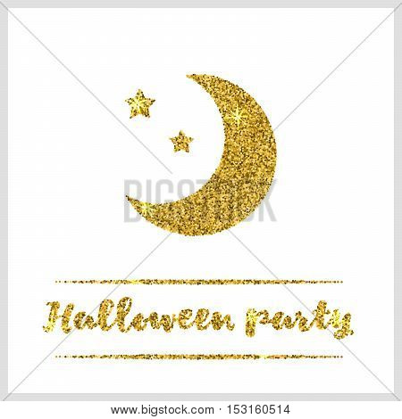 Halloween gold textured moon icon on white background. Golden design element for festive banner, greeting and invitation card, flyer, tag, poster, postcard, advertisement. Vector illustration.