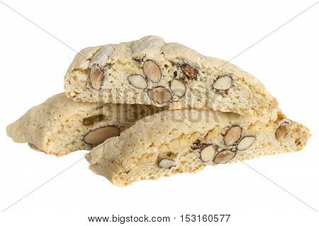 close up of biscotti pastries isolated over white
