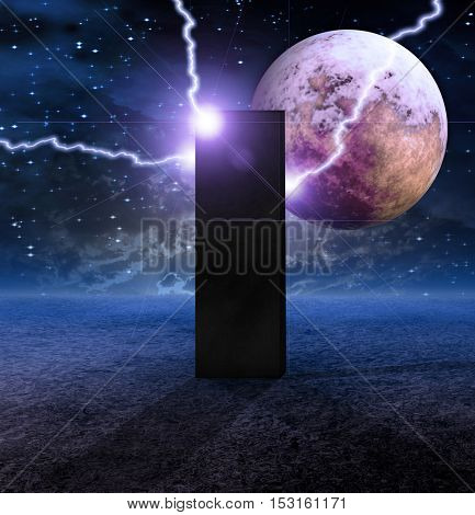 Monolith on Lifeless Planet with electric arcs and orange red moon beyond  3D Render