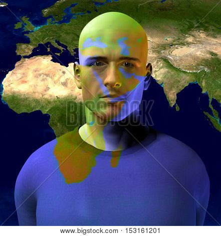 Middle East Superimposed on Mans Face Some elements provided courtesy of NASA  3D Render
