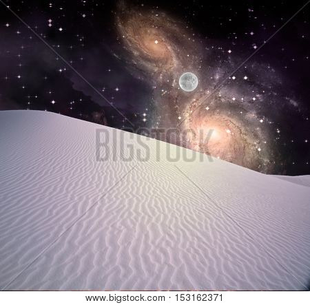 Night Desert with tiny moon and galaxies beyond Some elements provided courtesy of NASA