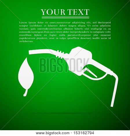 Bio fuel symbol flat icon on green background. Vector Illustration