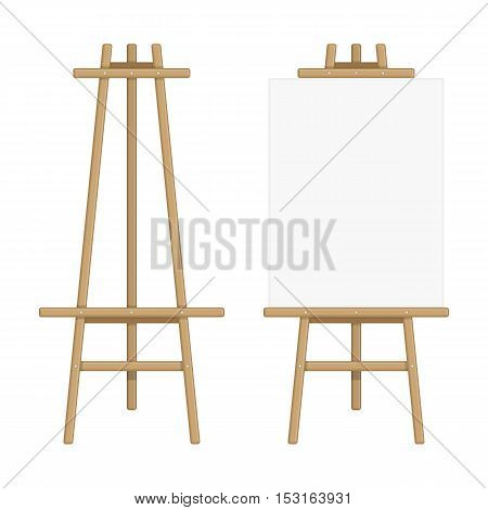 Wooden Easel template. Vector illustration of paint desk and white paper Isolated on background. Blank canvas on painting easel.