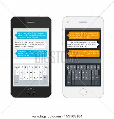 Smartphone in two colors, chatting sms template bubbles. Realistic mobile phone with modern keyboard, alphabet buttons. Vector illustration.