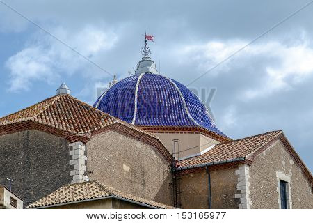 St. Bartholomew's Church Benicarlo Castellon Province Spain. in Baroque style. Detail of the dome