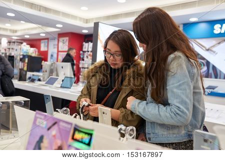 HONG KONG - CIRCA JANUARY, 2016: inside an electronic store at a shopping center in Hong Kong. Shopping is a widely popular social activity in Hong Kong.