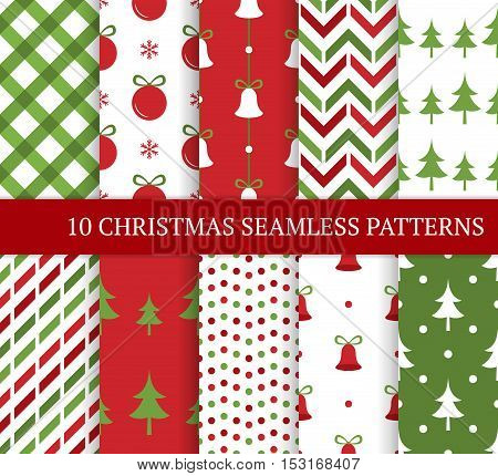 Ten Christmas different seamless patterns. Xmas endless texture for wallpaper web page background wrapping paper and etc. Retro style. Bells polka dots christmas trees and balls.