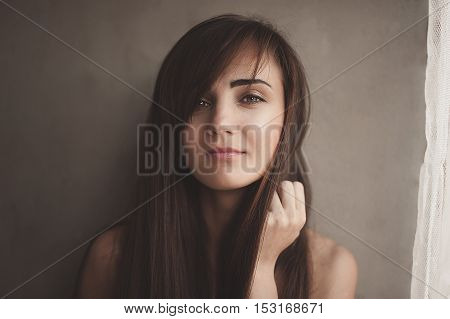 Lovely Woman Is Awoke And Standing Before Window. Girl Is Toples