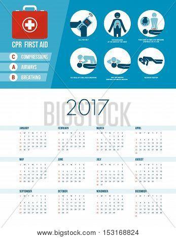 Cpr emergency medical procedure with stick figures 2017 healthcare calendar