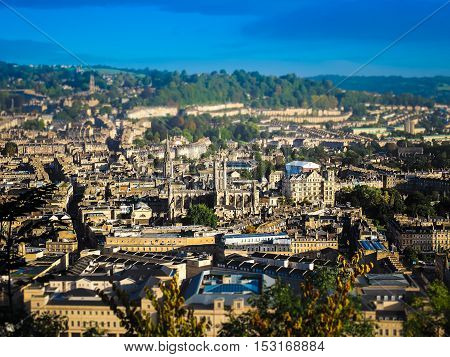 Aerial view of the city of Bath UK - Toy tilt shift perspective effect with selective focus in centre