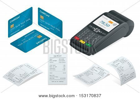 POS Terminal, debit credit card, Sales printed receipt. Isometric illustration. Credit card terminal isolated on white. poster